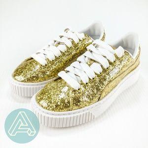 Puma Basket Platform Glitter Sneakers - Gold